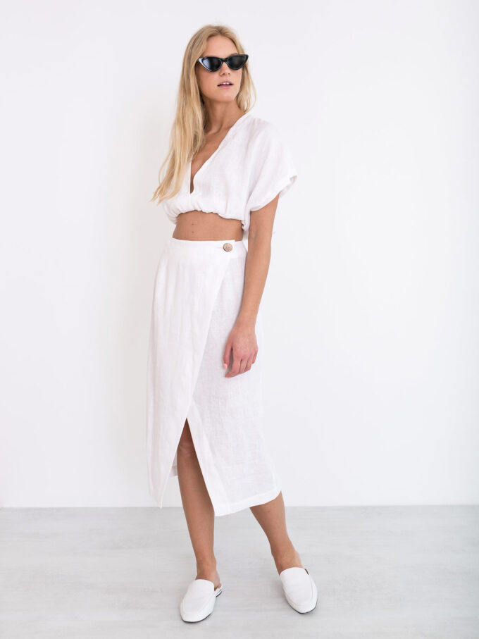Image 2 of ABIGAIL Linen Wrap Skirt in White from Love and Confuse
