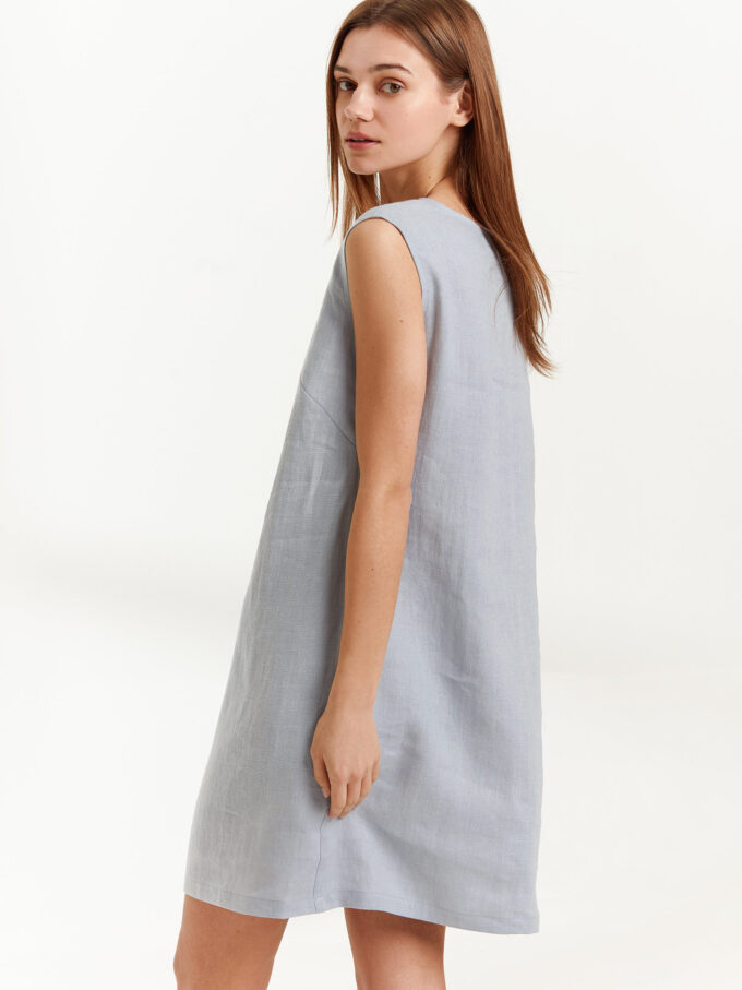 Image 6 of AJA Linen Tank Dress in Bluestone from Love and Confuse