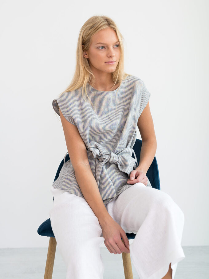Image 6 of ALEXANDRA Linen Tie Waist Top in Stripe from Love and Confuse