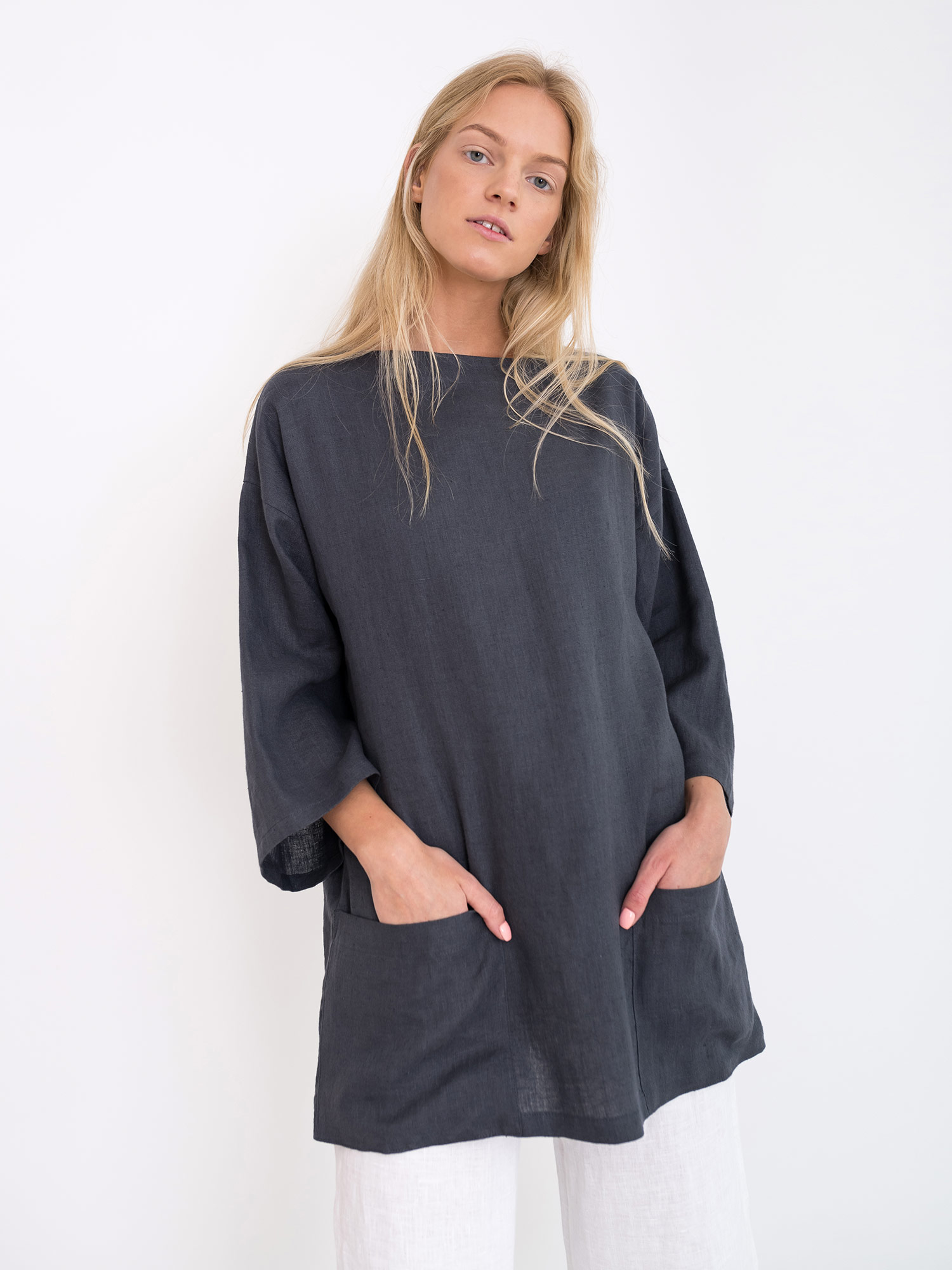 Image 1 of ALEXIS Oversized Linen Tunic Top from Love and Confuse 9d16d4de9e3e7