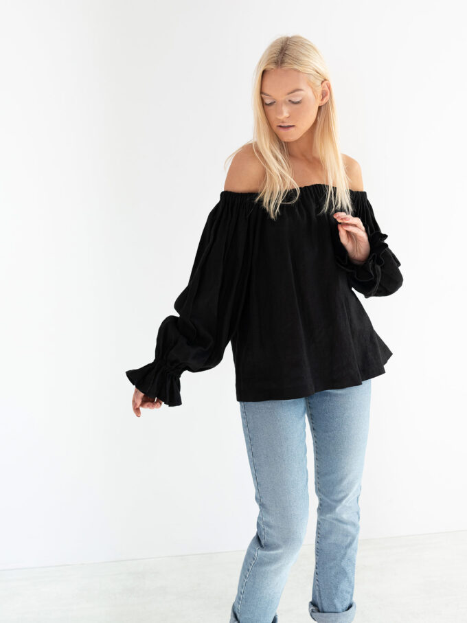 Image 1 of ALICE Off Shoulder Linen Top in Black from Love and Confuse