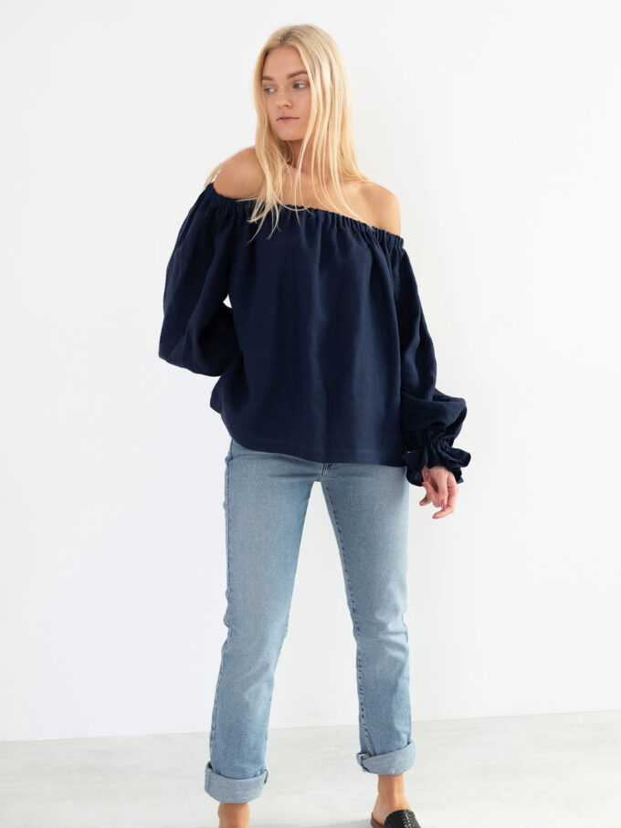 Image 1 of ALICE Off Shoulder Linen Top in Navy Blue from Love and Confuse