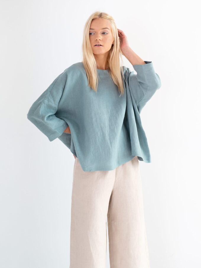 Image 1 of AMELIA Linen Top in Dark Turquoise from Love and Confuse