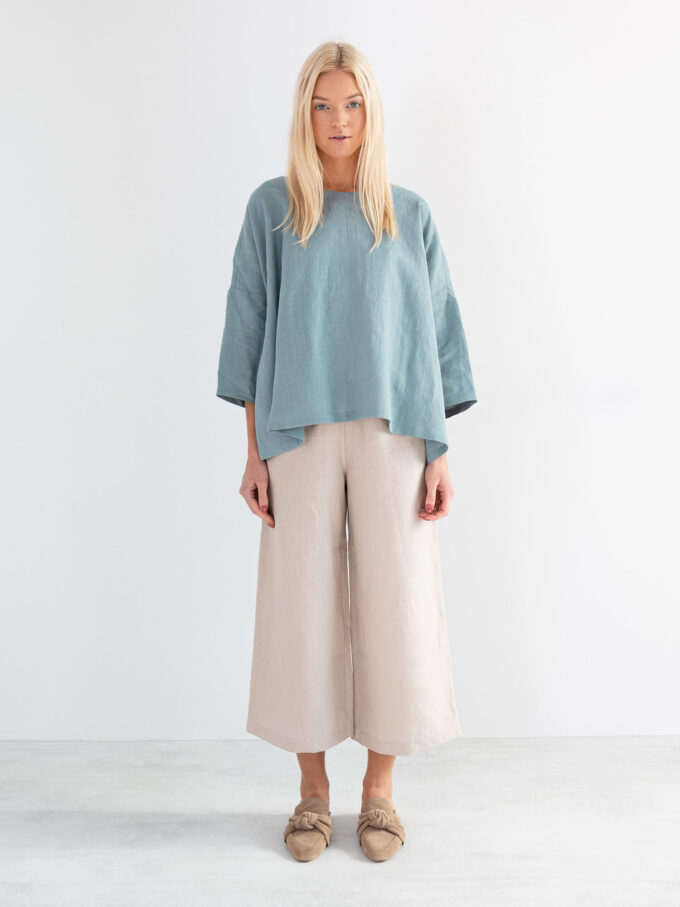 Image 2 of AMELIA Linen Top in Dark Turquoise from Love and Confuse