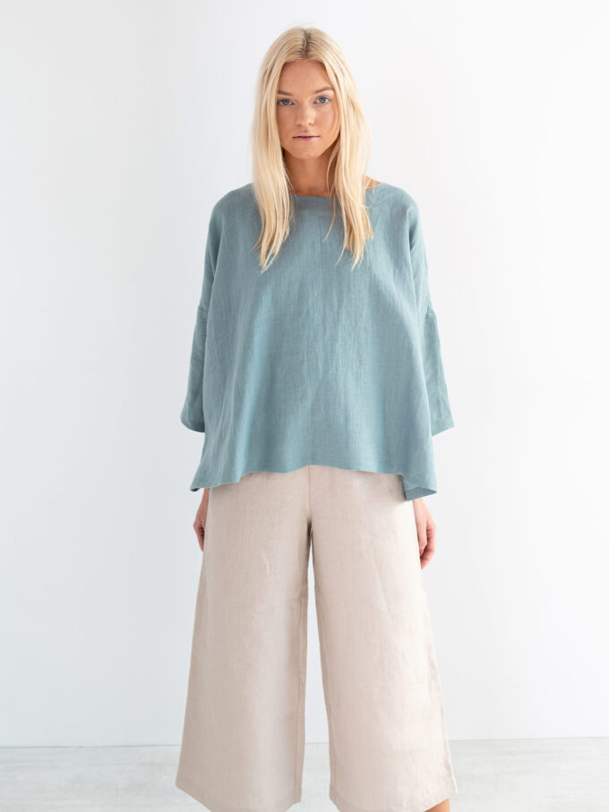 Image 3 of AMELIA Linen Top in Dark Turquoise from Love and Confuse