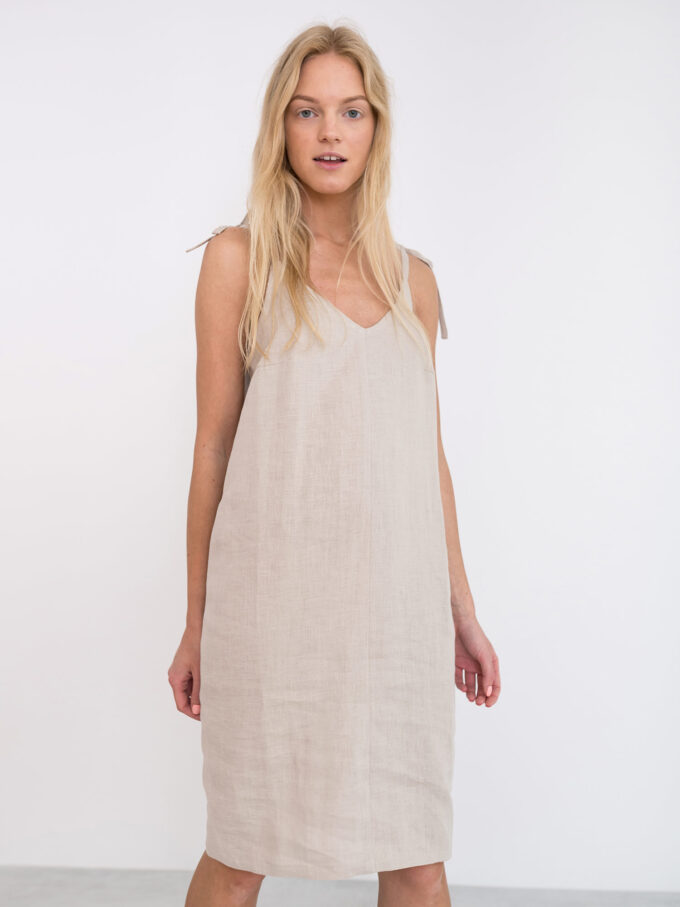 Image 1 of ARIA Linen Slip Dress in Beige from Love and Confuse