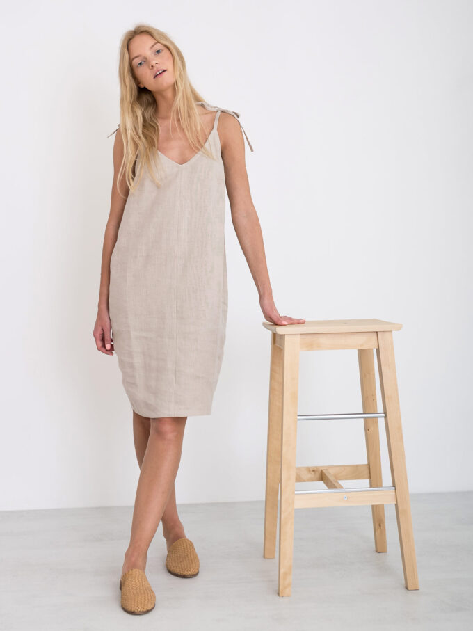 Image 2 of ARIA Linen Slip Dress in Beige from Love and Confuse