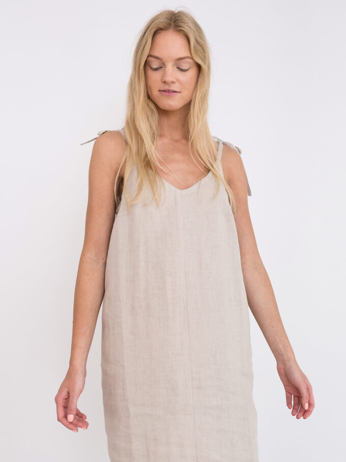 Image 4 of ARIA Linen Slip Dress in Beige from Love and Confuse