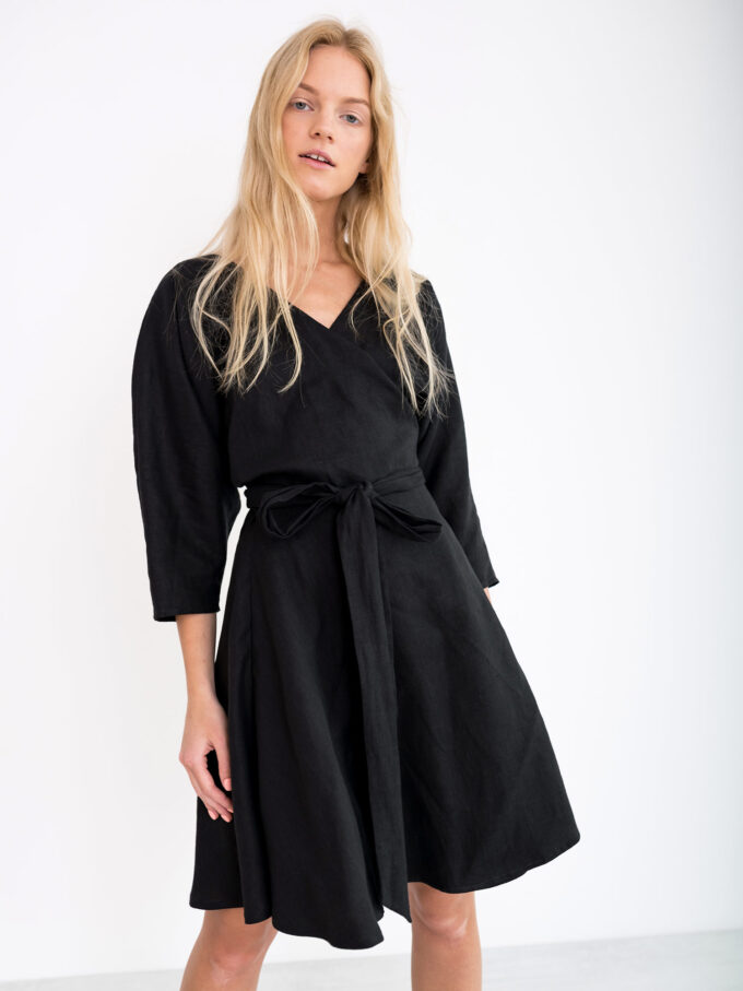 Image 1 of ARIEL Linen Wrap Dress in Black from Love and Confuse