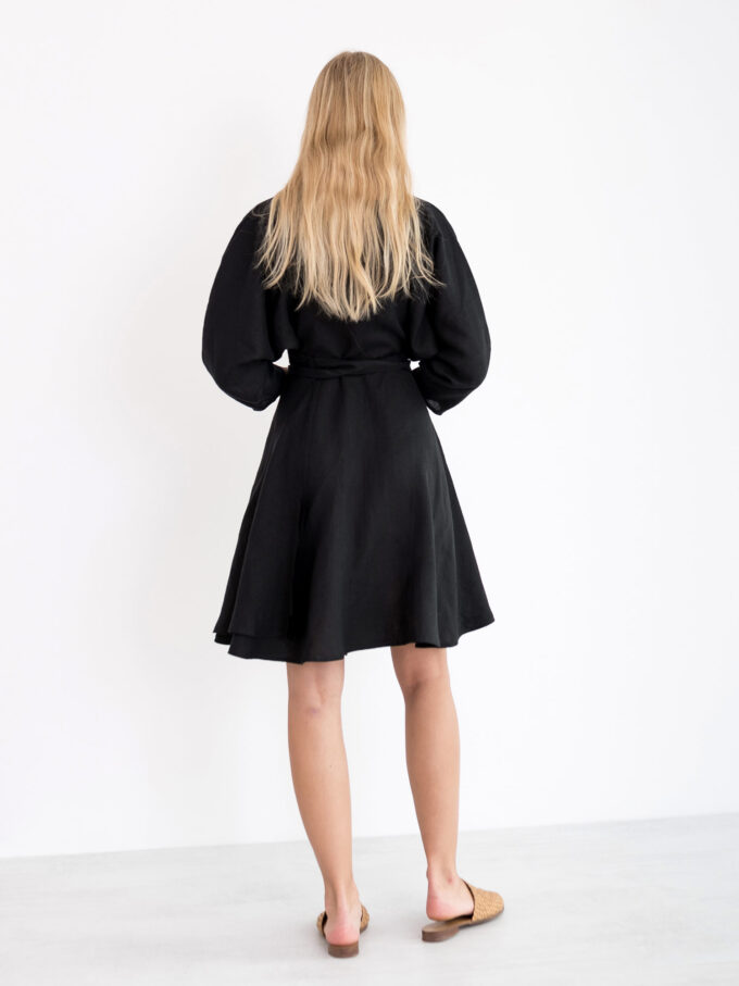 Image 5 of ARIEL Linen Wrap Dress in Black from Love and Confuse