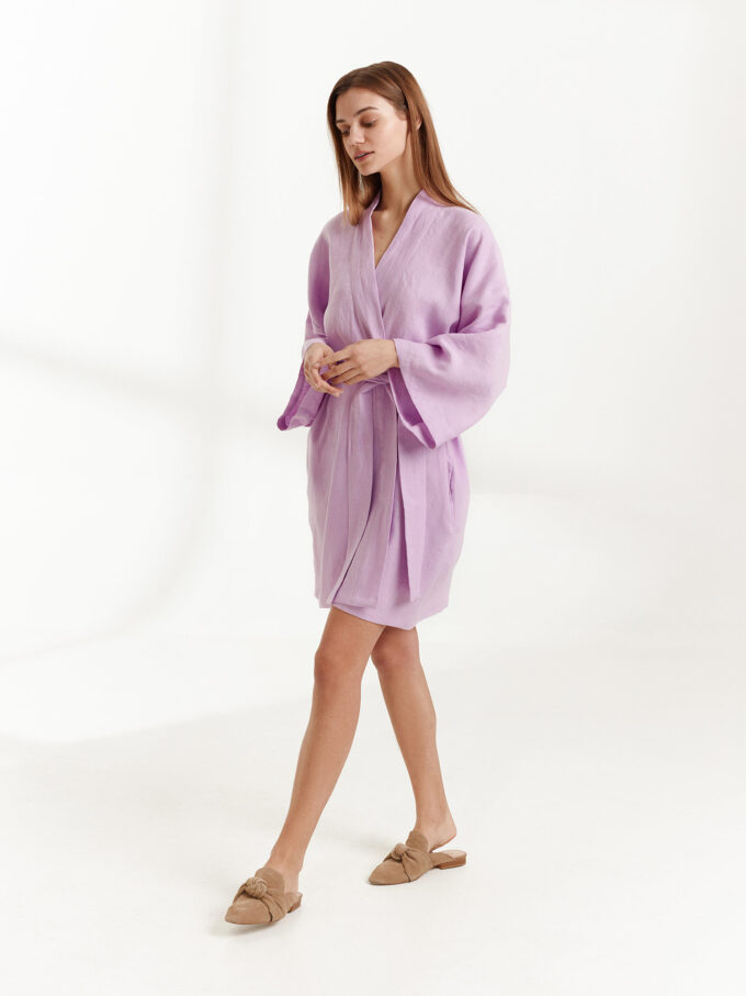 Image 1 of ATHENA Linen Wrap Dress in Lilac from Love and Confuse