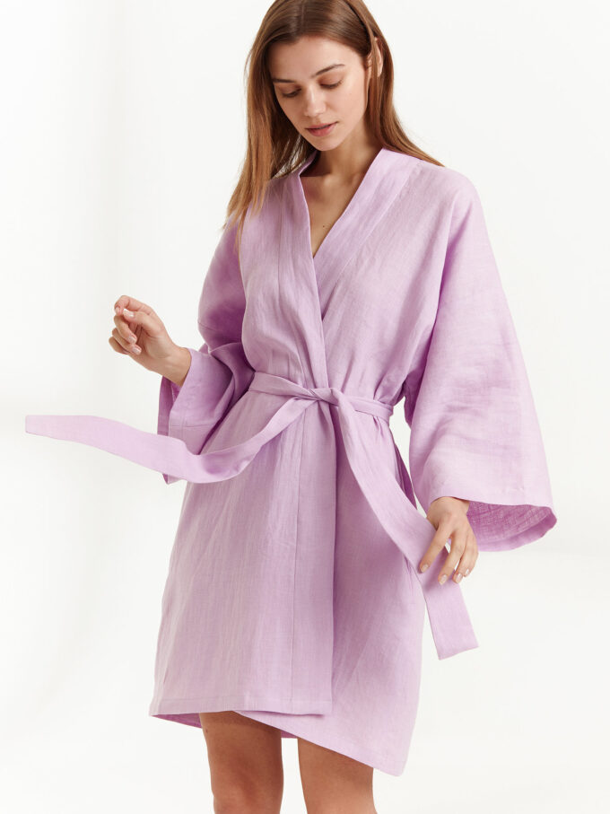 Image 2 of ATHENA Linen Wrap Dress in Lilac from Love and Confuse