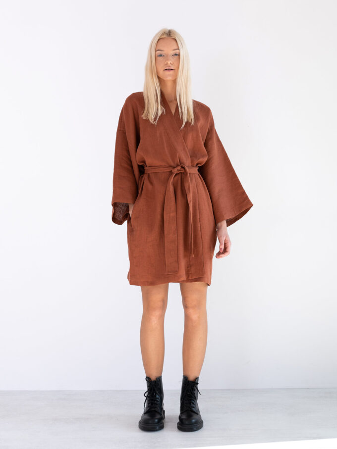 Image 1 of ATHENA Linen Wrap Dress in Rust from Love and Confuse