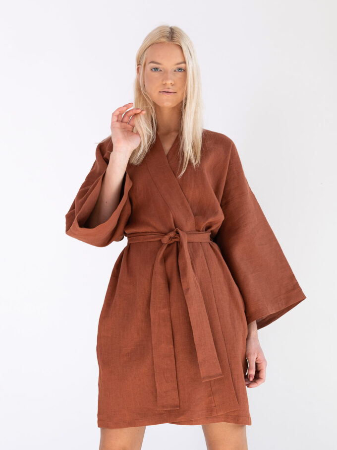 Image 2 of ATHENA Linen Wrap Dress in Rust from Love and Confuse