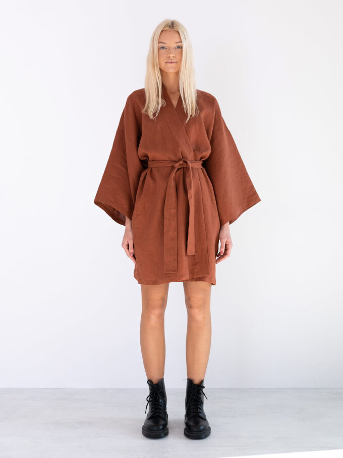 Image 3 of ATHENA Linen Wrap Dress in Rust from Love and Confuse