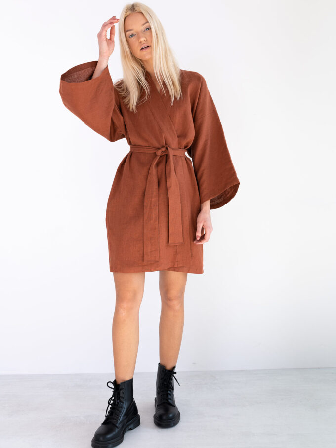 Image 4 of ATHENA Linen Wrap Dress in Rust from Love and Confuse