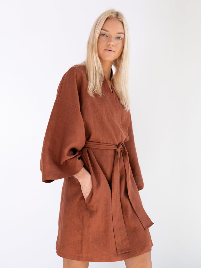Image 5 of ATHENA Linen Wrap Dress in Rust from Love and Confuse