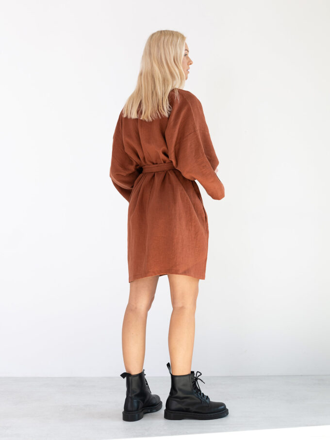 Image 6 of ATHENA Linen Wrap Dress in Rust from Love and Confuse