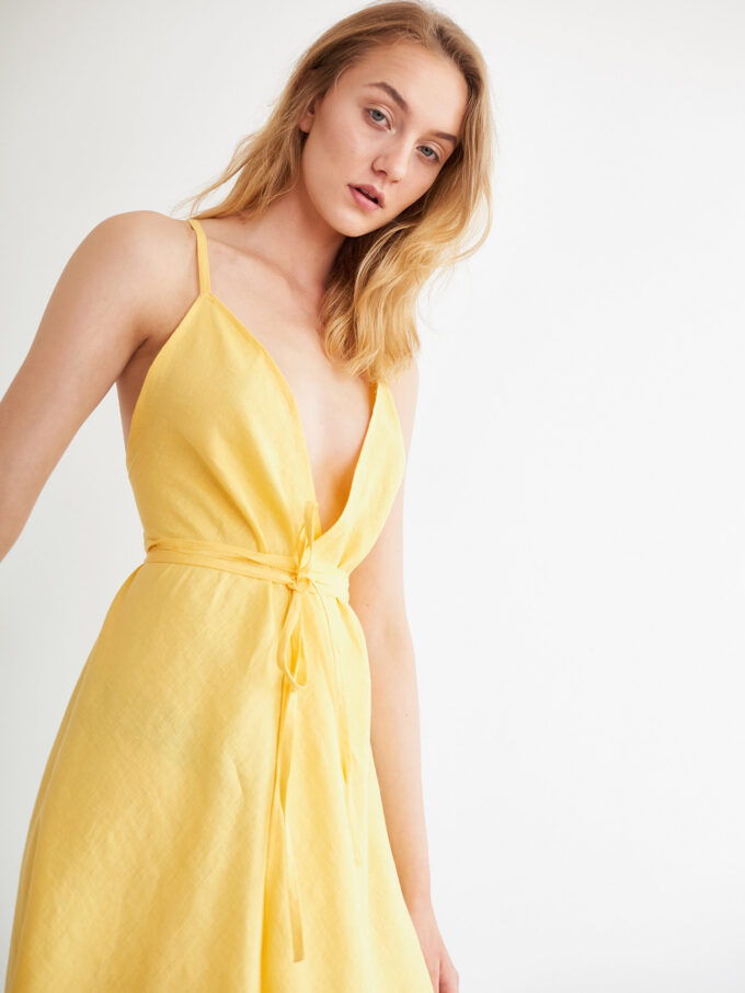 Image 1 of AUDREY Linen Wrap Dress in Lemon Yellow from Love and Confuse