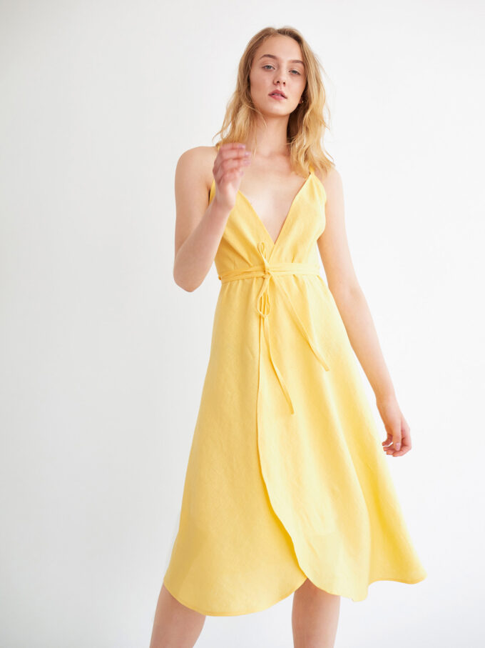 Image 2 of AUDREY Linen Wrap Dress in Lemon Yellow from Love and Confuse