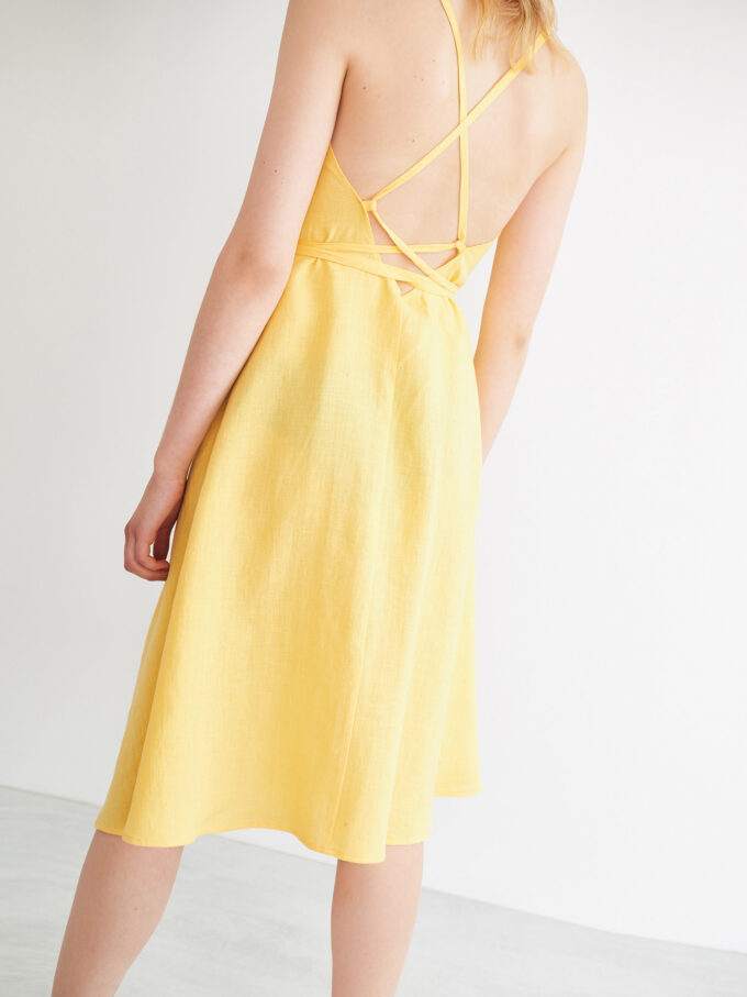 Image 3 of AUDREY Linen Wrap Dress in Lemon Yellow from Love and Confuse