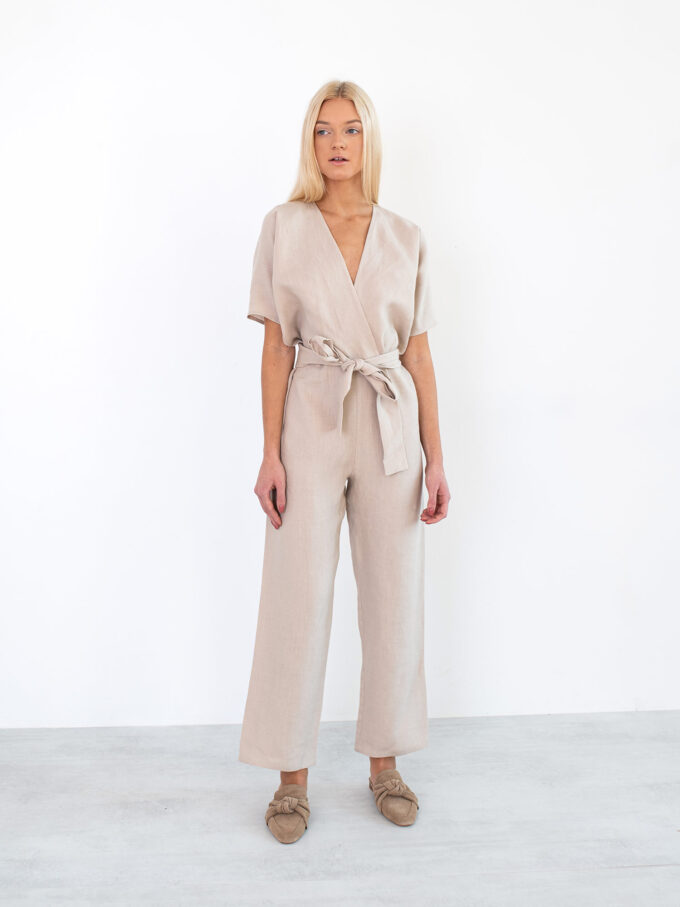Image 1 of AURORA Linen Jumpsuit in Beige from Love and Confuse