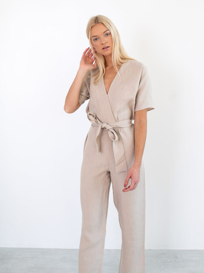 Image 2 of AURORA Linen Jumpsuit in Beige from Love and Confuse