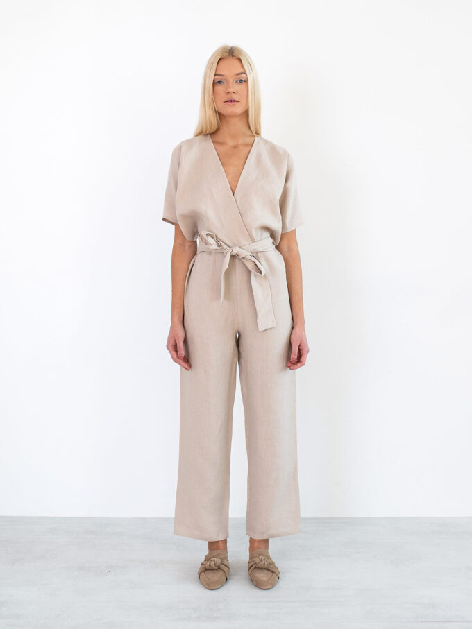 Image 3 of AURORA Linen Jumpsuit in Beige from Love and Confuse