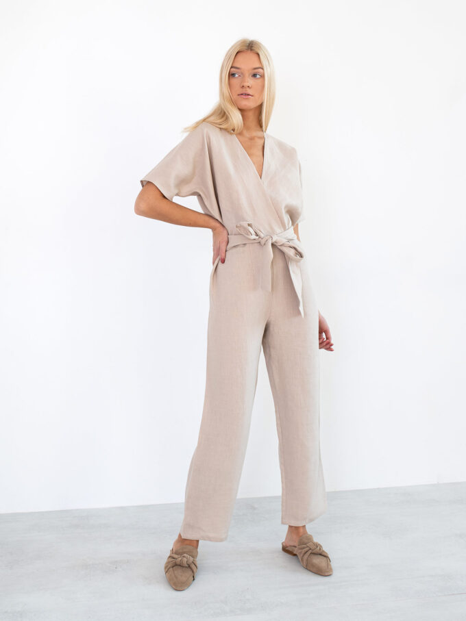 Image 4 of AURORA Linen Jumpsuit in Beige from Love and Confuse