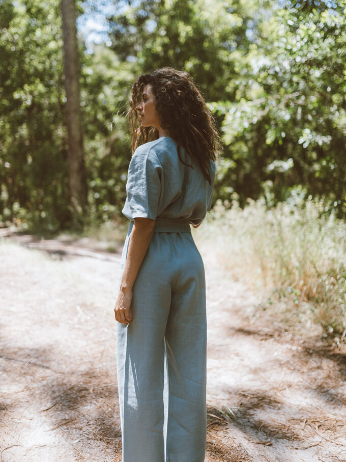 Image 6 of AURORA Linen Jumpsuit in Dark Turquoise from Love and Confuse