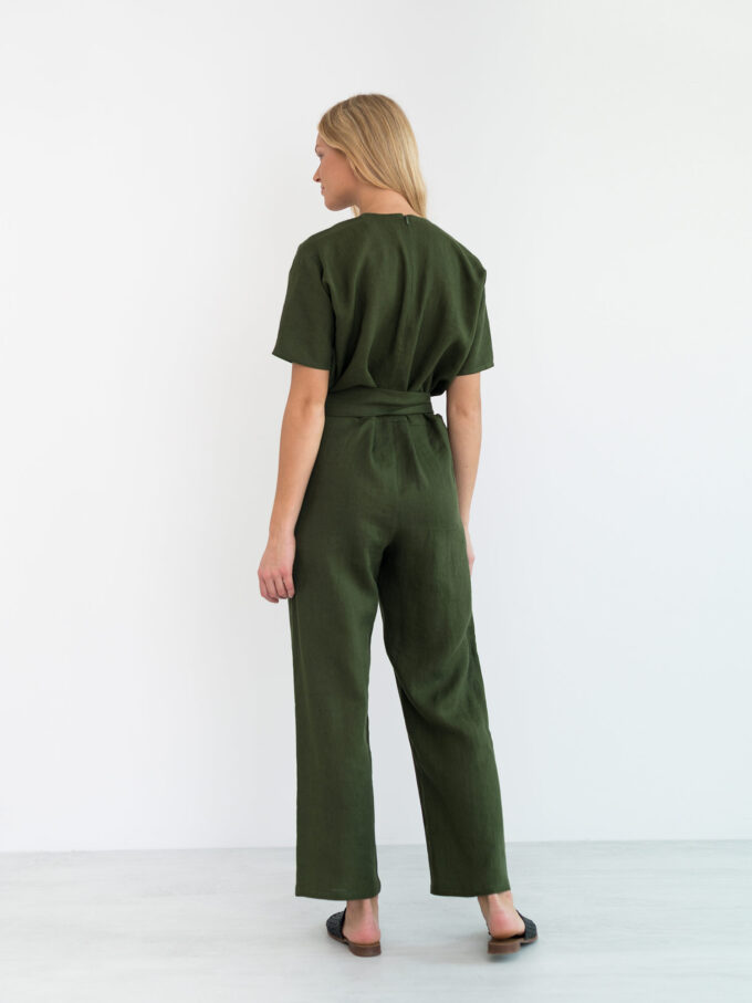 Image 5 of AURORA Linen Jumpsuit in Forest Green from Love and Confuse