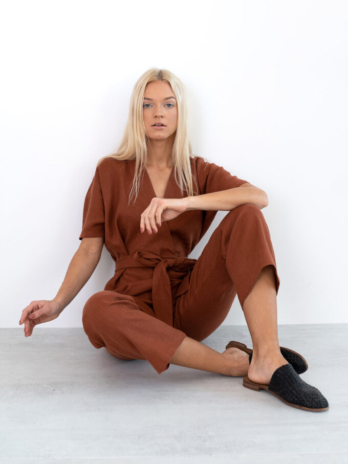Image 1 of AURORA Linen Jumpsuit in Rust from Love and Confuse