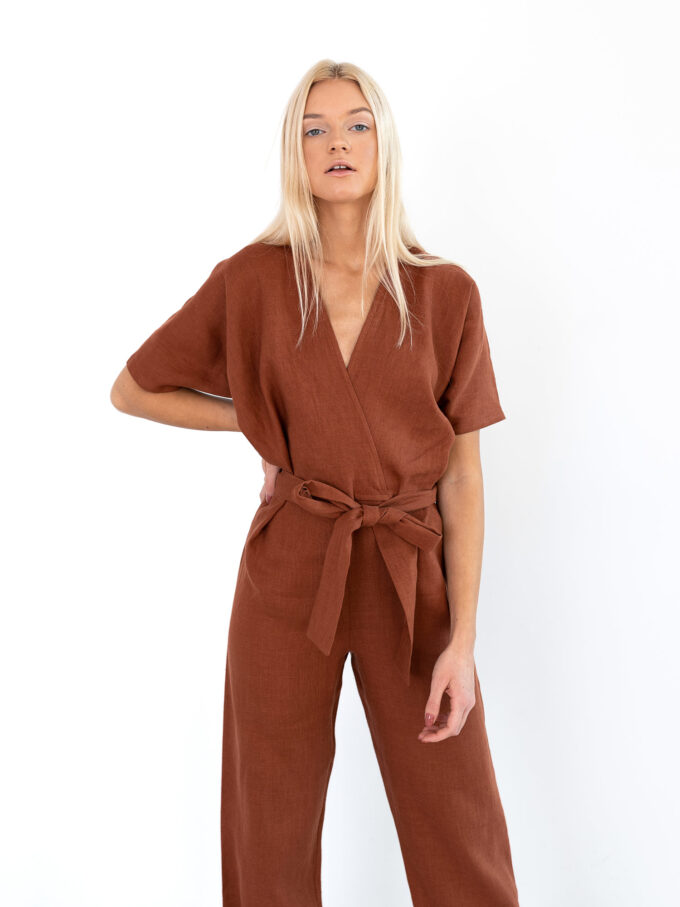 Image 2 of AURORA Linen Jumpsuit in Rust from Love and Confuse