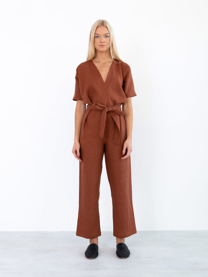 Image 3 of AURORA Linen Jumpsuit in Rust from Love and Confuse