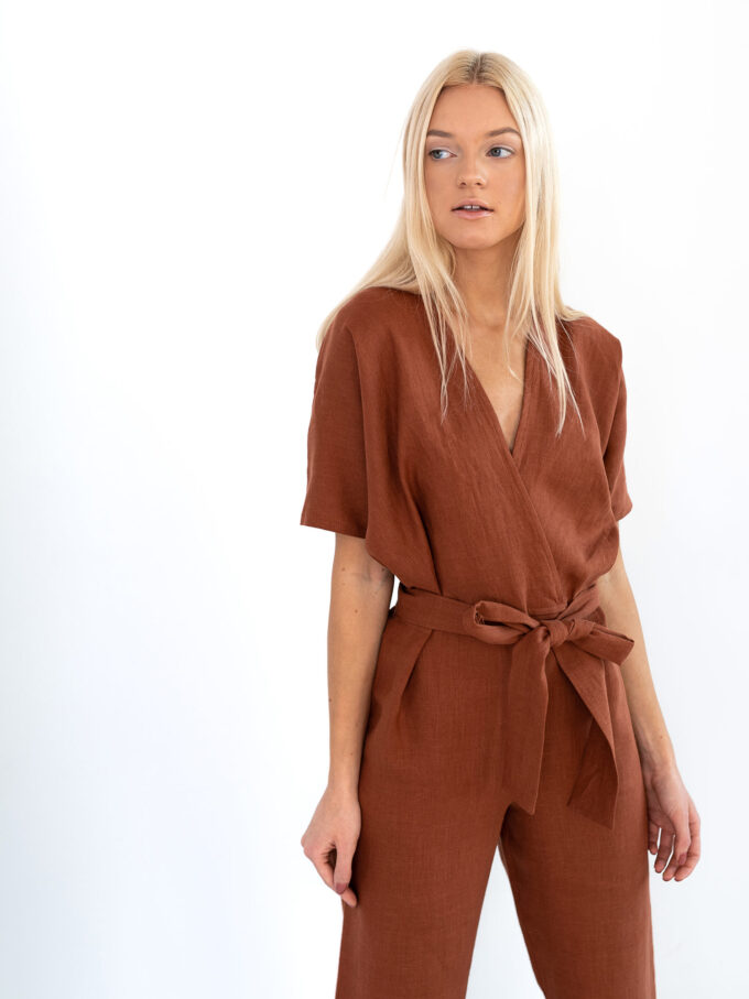 Image 4 of AURORA Linen Jumpsuit in Rust from Love and Confuse