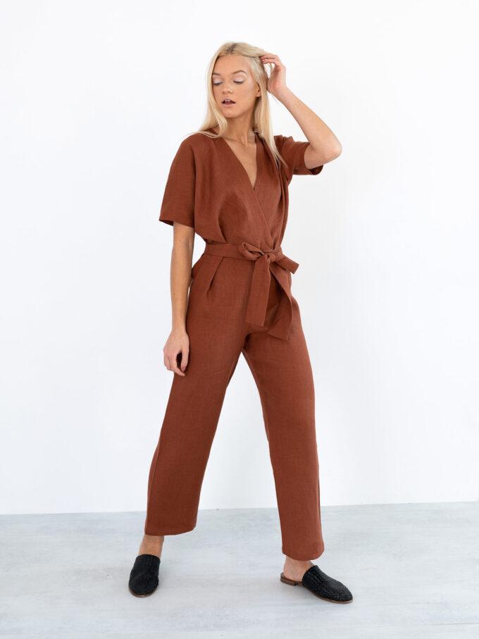 Image 5 of AURORA Linen Jumpsuit in Rust from Love and Confuse
