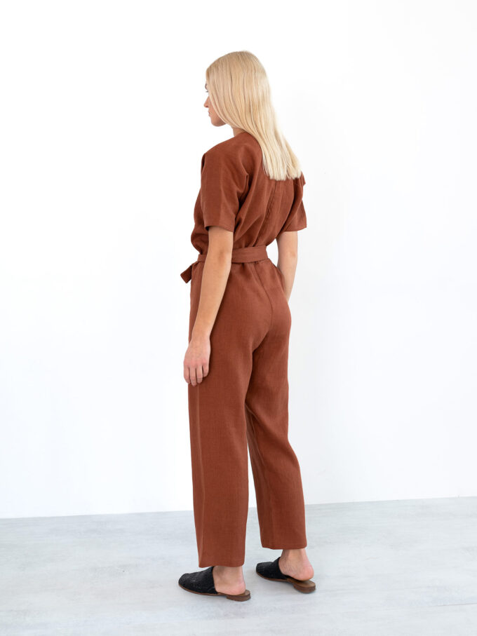 Image 6 of AURORA Linen Jumpsuit in Rust from Love and Confuse
