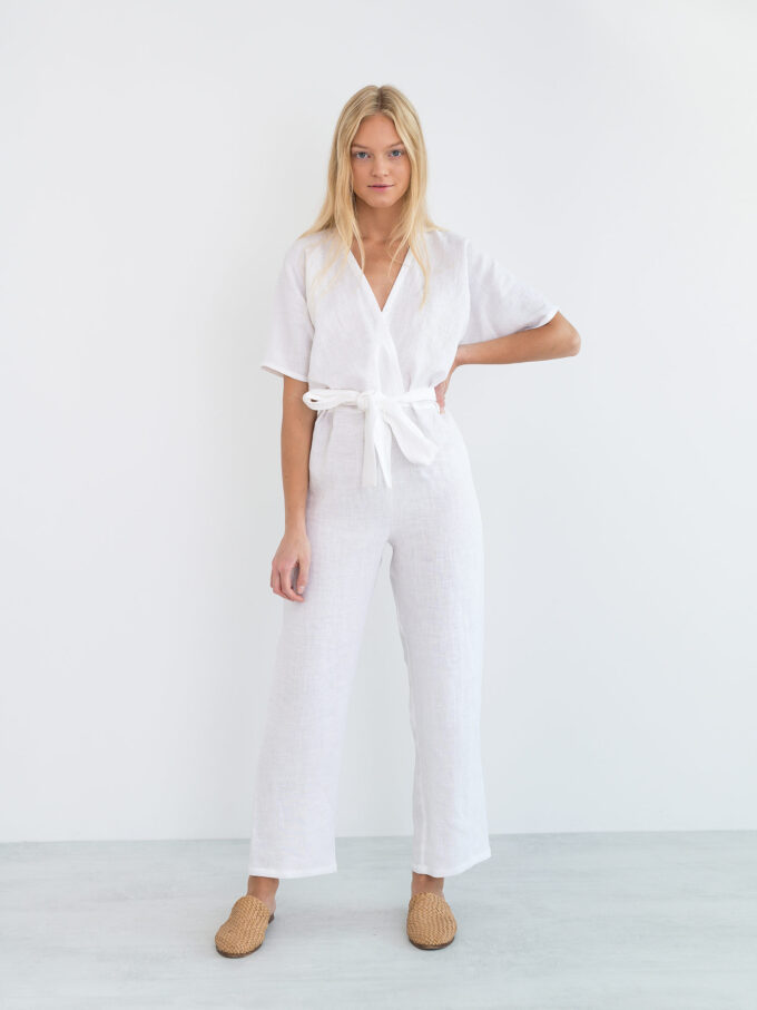 Image 2 of AURORA Linen Jumpsuit in White from Love and Confuse