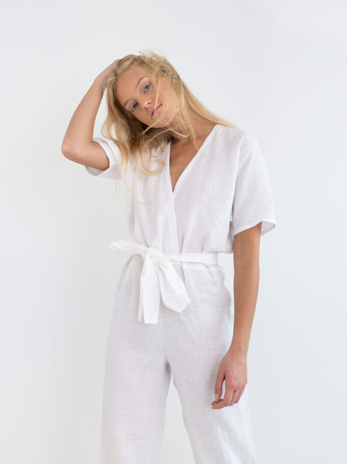 Image 3 of AURORA Linen Jumpsuit in White from Love and Confuse