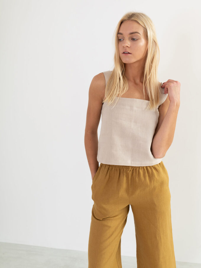 Image 3 of BEA Wide Strap Linen Top in Beige from Love and Confuse