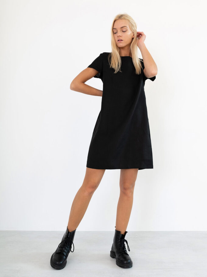 Image 2 of BEATRICE Linen Dress in Black from Love and Confuse