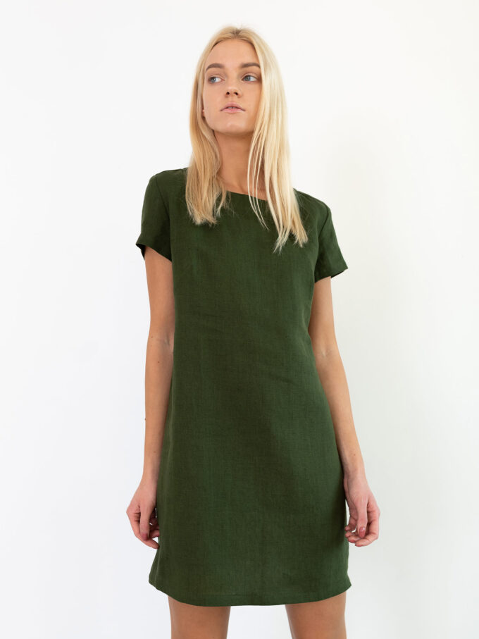Image 1 of BEATRICE Linen Dress in Forest Green from Love and Confuse