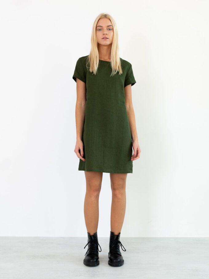 Image 2 of BEATRICE Linen Dress in Forest Green from Love and Confuse