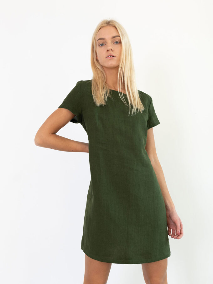 Image 3 of BEATRICE Linen Dress in Forest Green from Love and Confuse