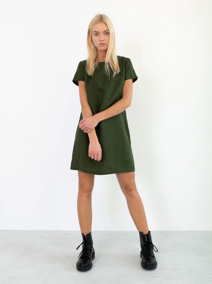 Image 4 of BEATRICE Linen Dress in Forest Green from Love and Confuse