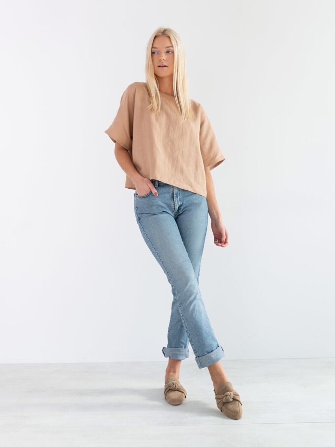 Image 4 of BEE Linen Top in Camel from Love and Confuse