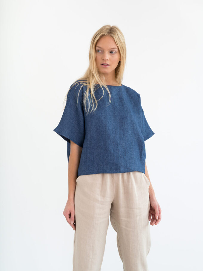 Image 2 of BEE Linen Top in Denim from Love and Confuse