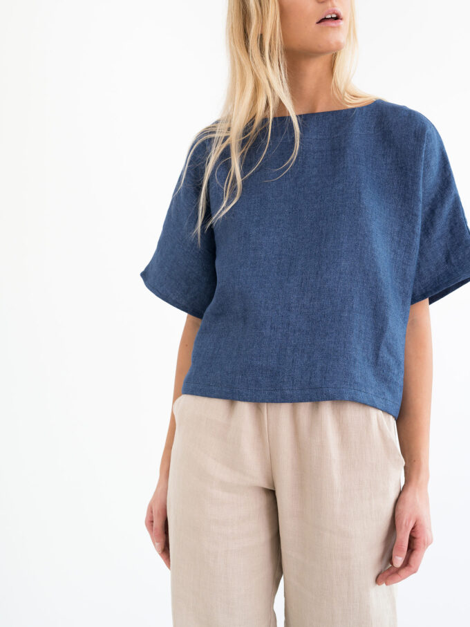 Image 5 of BEE Linen Top in Denim from Love and Confuse