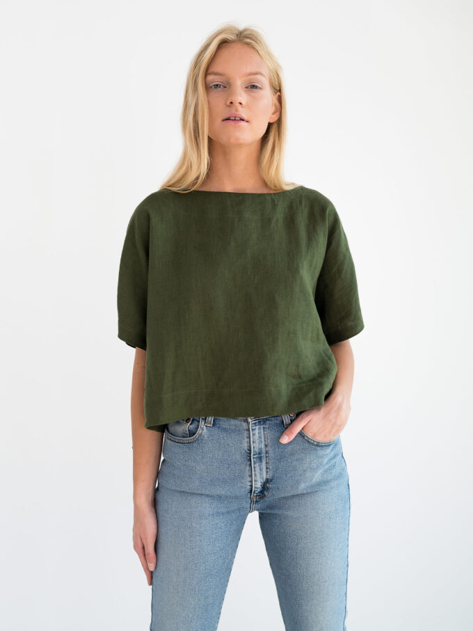 Image 5 of BEE Linen Top in Forest Green from Love and Confuse