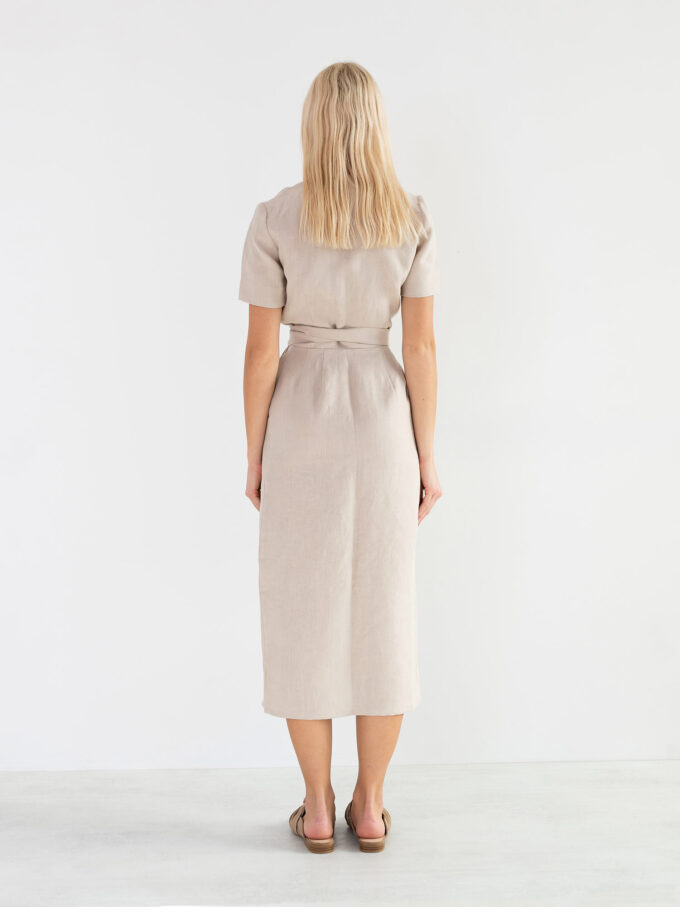 Image 5 of BELLA Linen Midi Wrap Dress in Beige from Love and Confuse